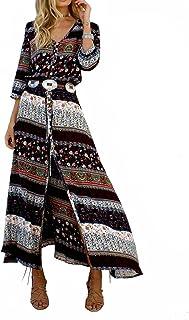 d398673ead3 Yidarton Robe Femme Bohème Col V Chic Maxi Robe Manche 1 2 Été Casual Robe