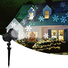2019 New Moving Snowflake lights, White Christmas Projector Lights LED Landscape Projection, Indoor & Outdoor Spotlights Decor Stage Irradiation & Garden Tree Wall, Perfect Halloween Holiday Party
