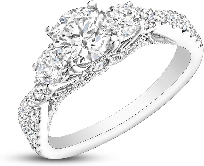 Tucson Mall 1.5 Carat ctw moissanite engagement for women rings P Max 51% OFF Platinum