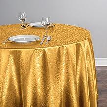 مفرش من LinenTablecloth من الساتان المنقوش الباروك مقاس 108 بوصة، نحاسي