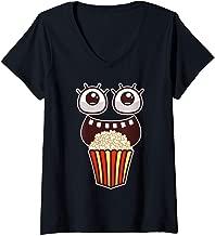 Womens Kawaii Eyes Popcorn Monster Movies Pop Corn Costume Gifts V-Neck T-Shirt