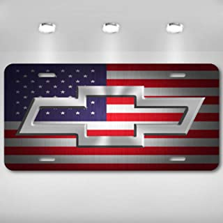 Patriotic US USA American Flag Chevy Bowtie Bow Tie Aluminum License Plate Tag