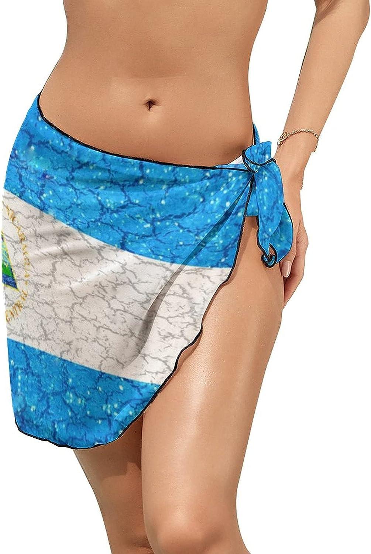 JINJUELS Women's Bikini Swimsuit Cover Up Nicaragua Flag Shining Summer Beach Wrap Skirt Pareo Sarong