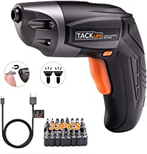 TACKLIFE Cordless Screwdriver, Electric Screwdriver Rechargeable 3.6V 2000mAh Lithium Ion Battery with 33Pcs Free Screw Bi...