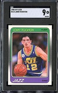 1988-89 FLEER #115 JOHN STOCKTON SGC 9 RC ROOKIE JAZZ HOF