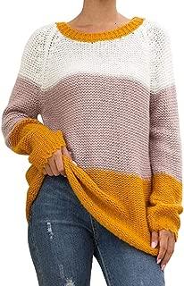 Womens Casual Long Sleeve Crewneck Pullover Sweatshirt Color Block Blouse Knit Top