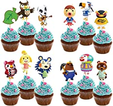 Animal Themed Party Supplies.24pcs Cupcake Toppers for Video Game Birthday Party Decorations