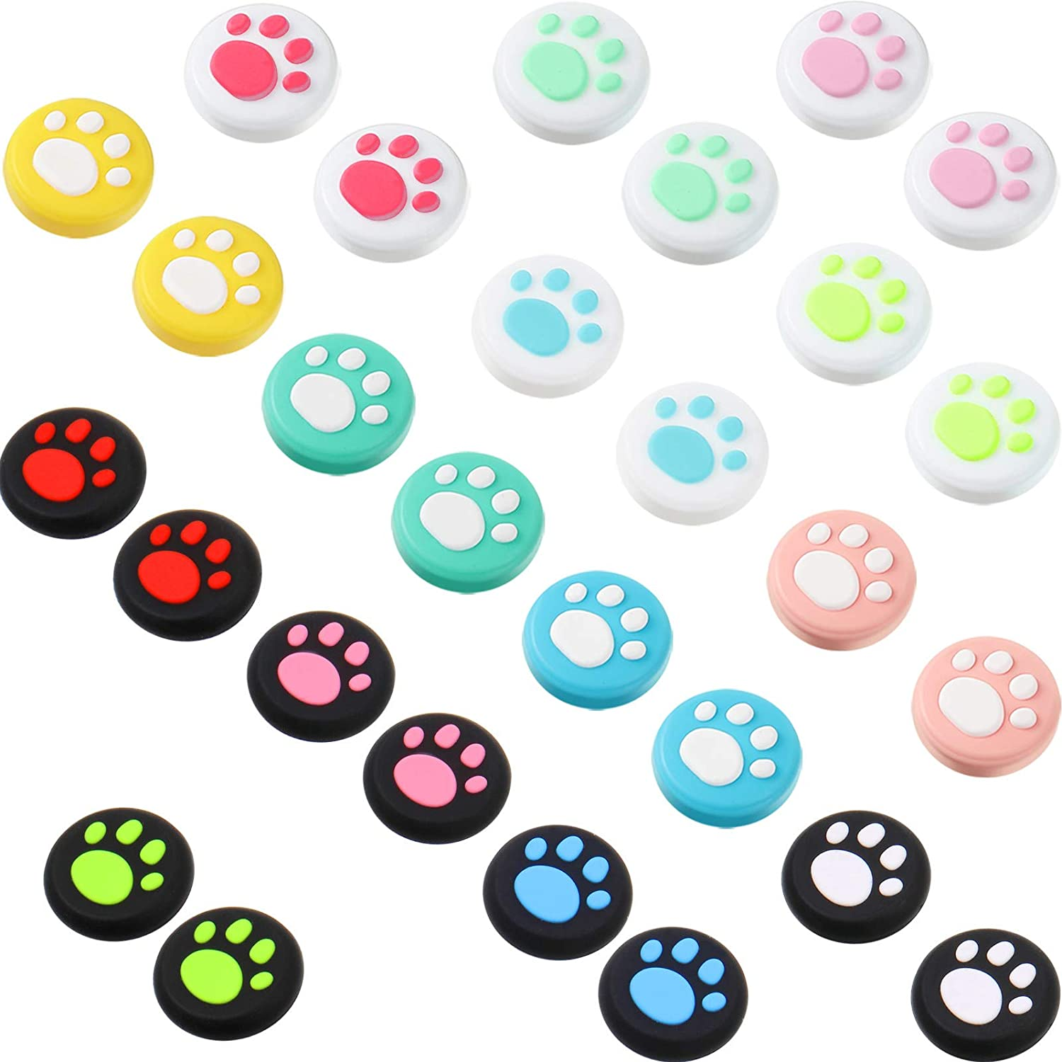 28 Pieces Cat Thumb Grips Caps Replacement Cat Claw Joystick Cap Silicone Cat Analog Stick Cover Compatible with PS5 PS4 PS3 PS2 Xbox 360 Xbox One Controllers: Toys & Games