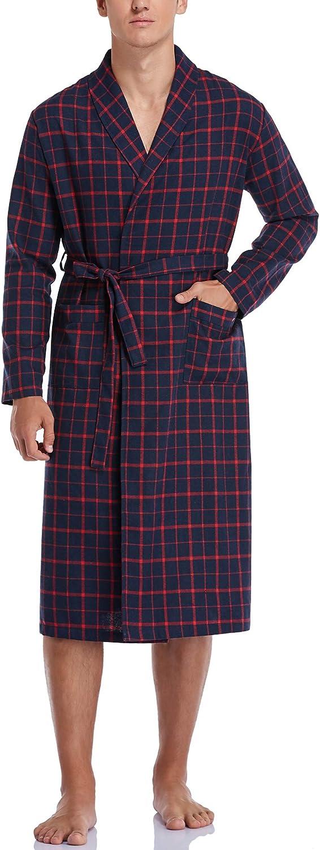 COLORFULLEAF Mens Cotton Robe Lightweight Kimono Robe Long Sleeve Bathrobe Shawl Collar Spa Robe