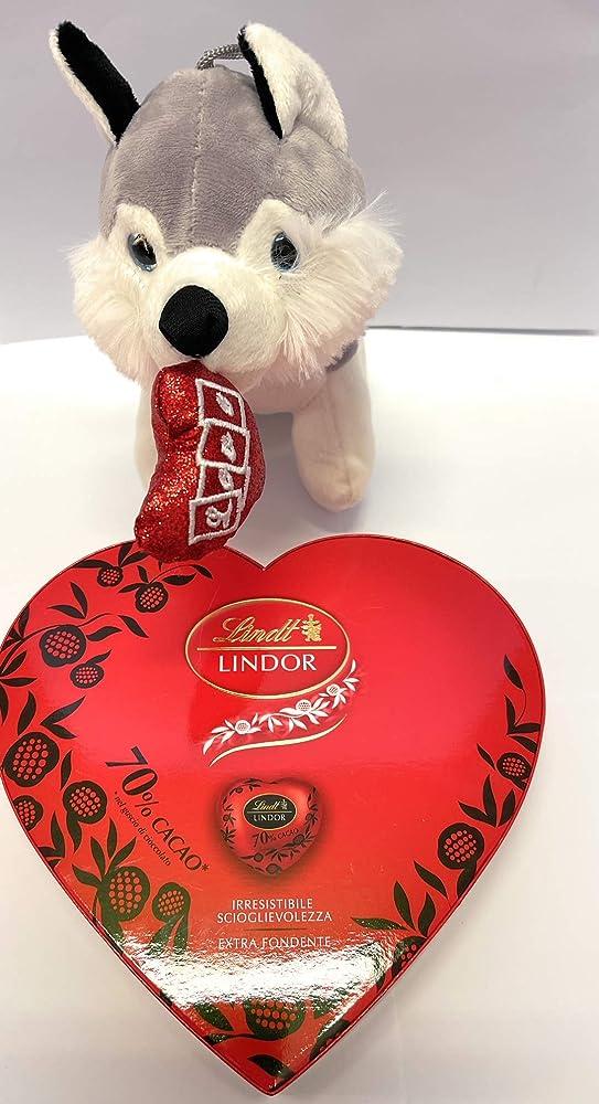 Italy,san valentino ,scatola di cioccolattini fondenti lindt lindor,piu` peluche husky