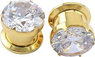 ZeSen Jewelry Splendida Grandi Cubic Zirconia vite dell'acciaio inossidabile Tunnel Orecchio Expander barella penetrante C...