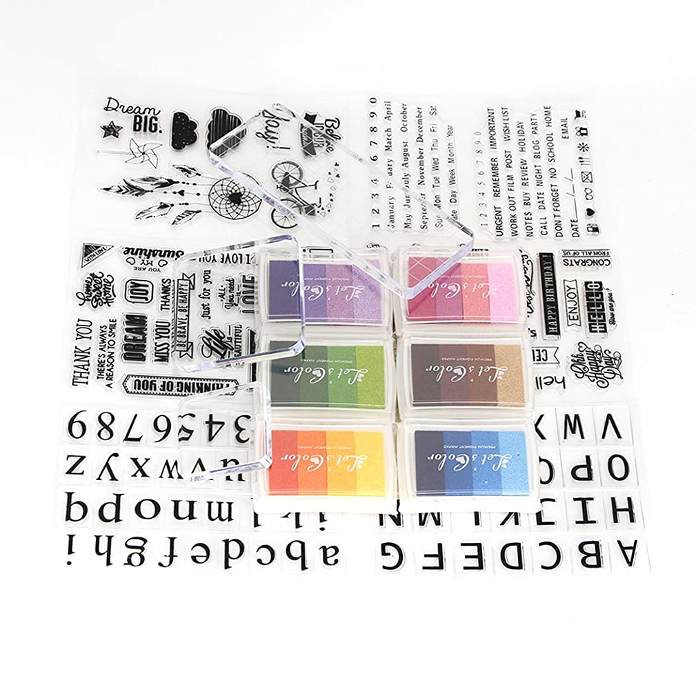 Clear Stamps Set 6 Sheets Different Style Silicone Stamps and 6 Pieces Colorful Gradient Ink Pads and 3 Pieces Stamp Blocks for Scrapbooking Crafts Making