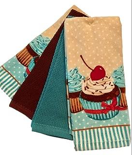 Km 4-Pack 100% Cotton Kitchen Towel Set - Hostess, Birthday, Housewarming, Get Well Gift Bundle (Teal Cupcake)