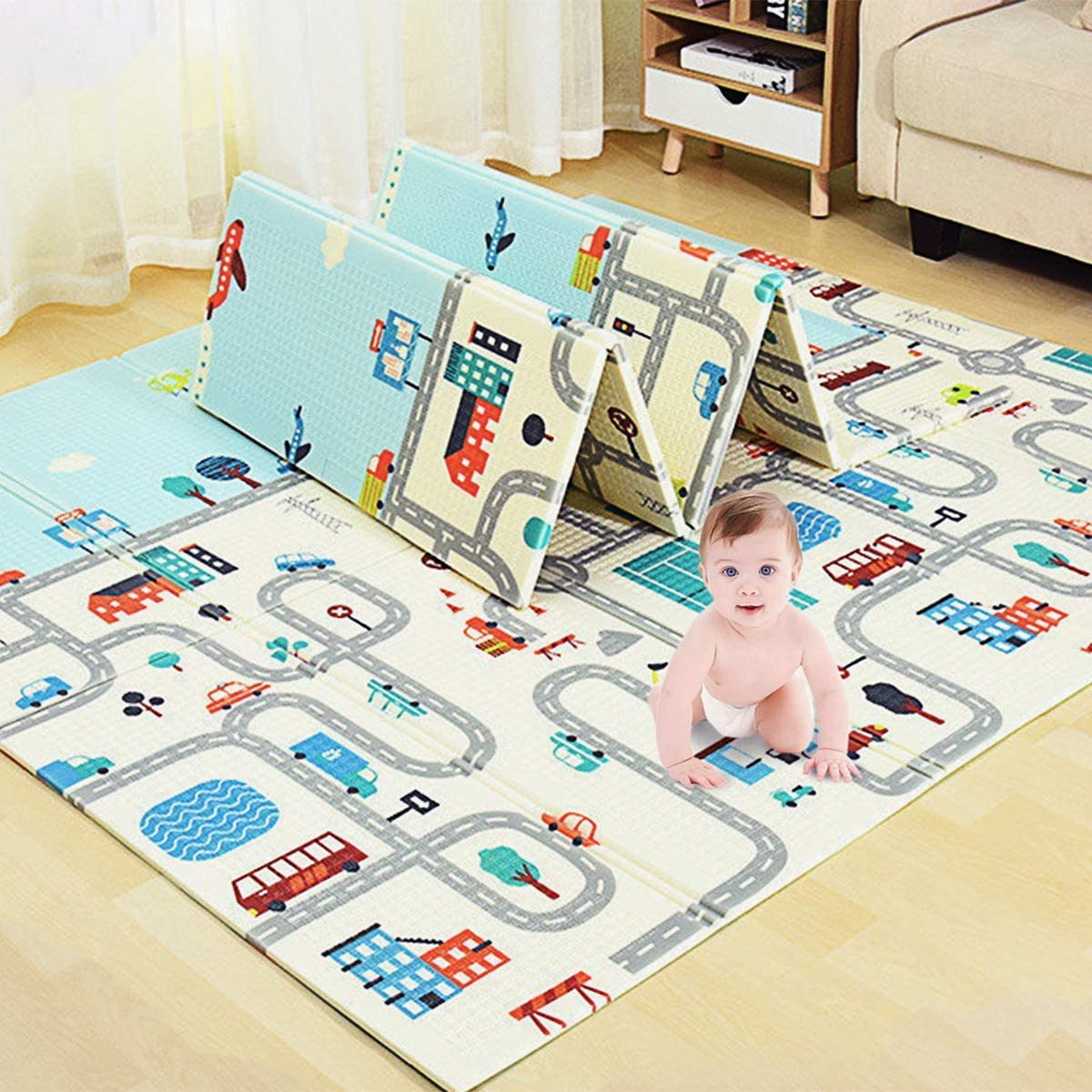 KGK Baby Play Challenge the lowest price of Japan Max 55% OFF Mat Large for Crawling Folding Waterproof