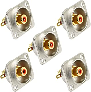 Seismic Audio - SAPT238-5Pack - 5 Pack of RCA Female Panel Mount Connectors - Nickel Plated - Fits Series D Pattern Holes Pro Audio