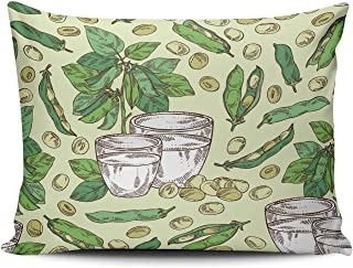 THUONY Bedroom Home Decoration Milk and Soybean Plant Throw Pillow Cover Cushion Case Fashion One Side Printed Lumbar 12x20 Inches (Set of 1)