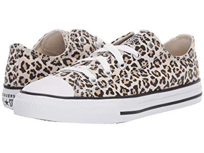 Converse Kids Chuck Taylor(r) All Star(r) Leopard Print Ox (Little Kid) (Black/Driftwood/Light Fawn) Girls Shoes