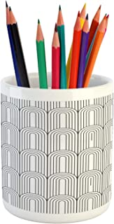 Lunarable Abstract Pencil Pen Holder, Repetitive Simplistic Art Deco Style Elements Cat's Tongue Look Motifs, Ceramic Pencil Holder for Desk Office Accessory, 3.6