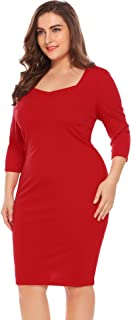 IN'VOLAND Women's Plus Size Sweetheart Neck Bodycon Dress Wear to Work Dress 3/4 Sleeve Elegant Casual Pencil Dress