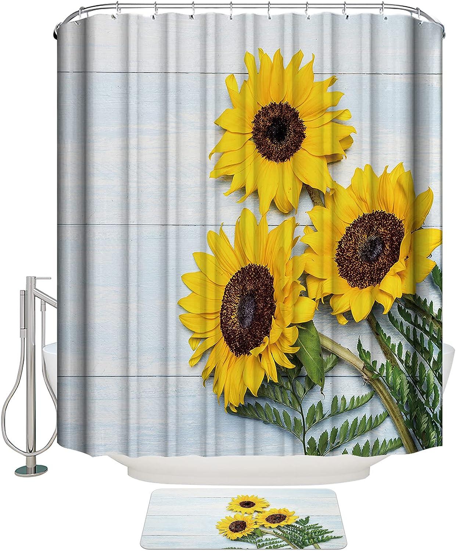Yellow Sunflower Classic Shower Curtain Set Thick Max 44% OFF Mat Bath Bathroom Rugs