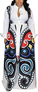 LOVEVE Womens African Dresses Long Sleeve - Elegant Sexy Floral Print Button Down Bohemian Party Bodycon Long Maxi Dress
