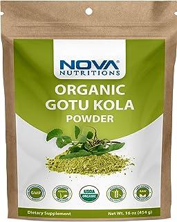 Nova Nutritions Certified Organic Gotu Kola Powder 16 OZ (454 gm) - Also called brahmi leaf powder (Centella asiatica)