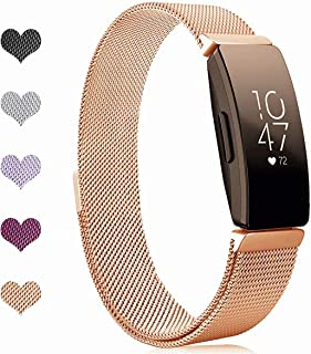 "Sport Watch Wristband for Fitbit Inspire Bands and Fitbit Inspire HR Band Stainless Steel Metal Strap Bracelet Loop Replacement for Women Men, Rose Gold(5.1"" - 8.5"")"