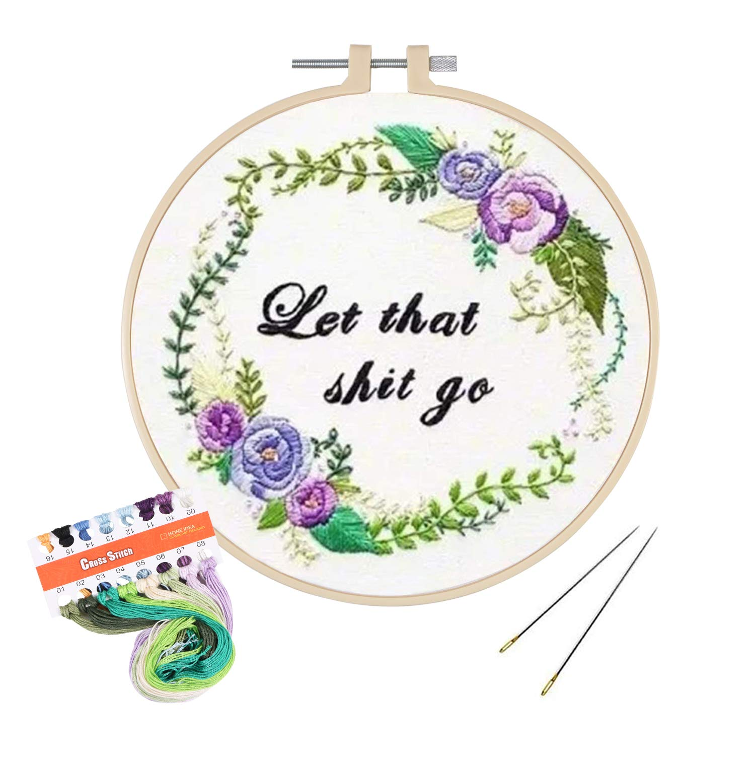 and Tools Kit,2 Pack of Garland/&Fragrant Unime Full Range of Embroidery Starter Kit with Pattern Cross Stitch Kit Including Embroidery Cloth with Color Pattern Color Threads Bamboo Embroidery Hoop