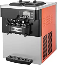 VEVOR 2200W Commercial Soft Ice Cream Machine 20 to 28L or 5.3 to 7.4Gal Per Hour LED Display Auto Shut Off Timer 3 Flavors Perfect for Restaurants, Orange
