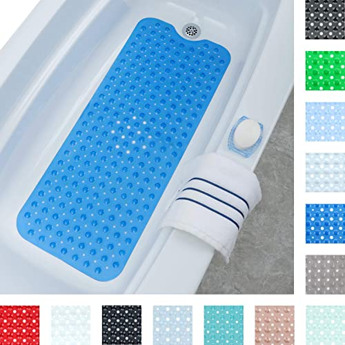 Superior grip e drenaggio 40 x 100 cm PRXD Extra lungo per vasca da bagno tappetini antiscivolo tappetino vasca doccia antibatterico tappeti Verde
