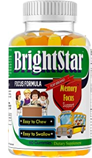 Kids Brain Focus Chewable Gummies Supplements, Attention & Memory Formula for Children and Teens, School Study Task Suppor...