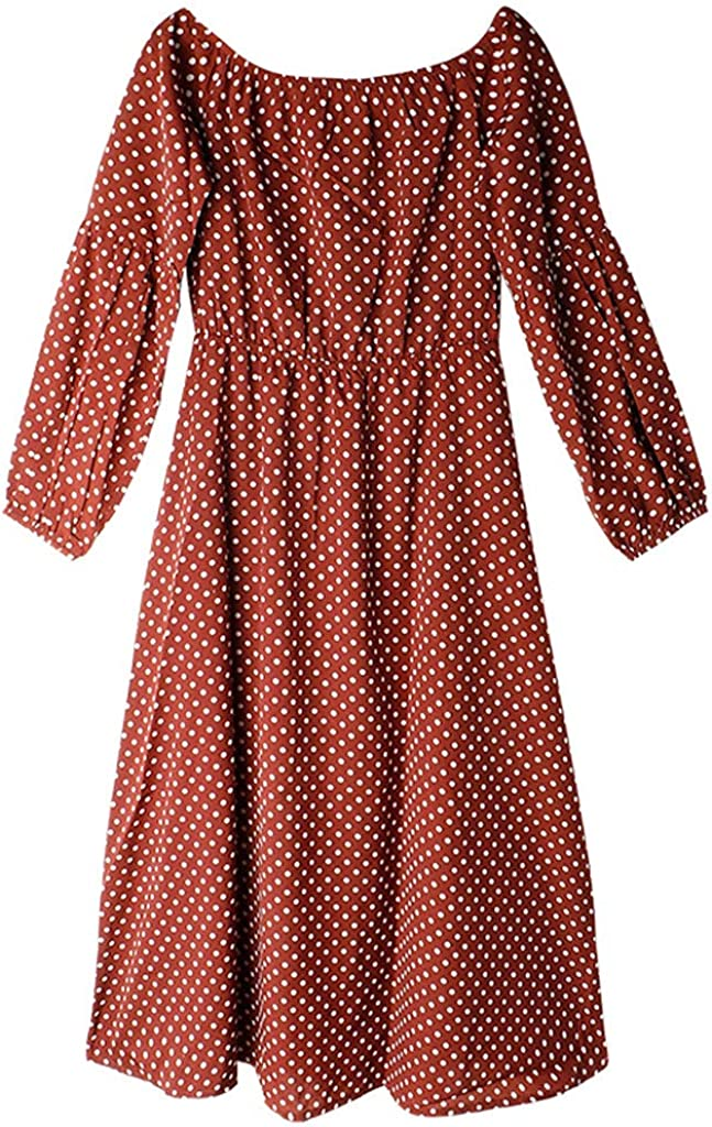 Kulywon Boho Dress Women Fashion Plus Size Vintage Dot Slash Neck Long Lantern Sleeve Loose Dress