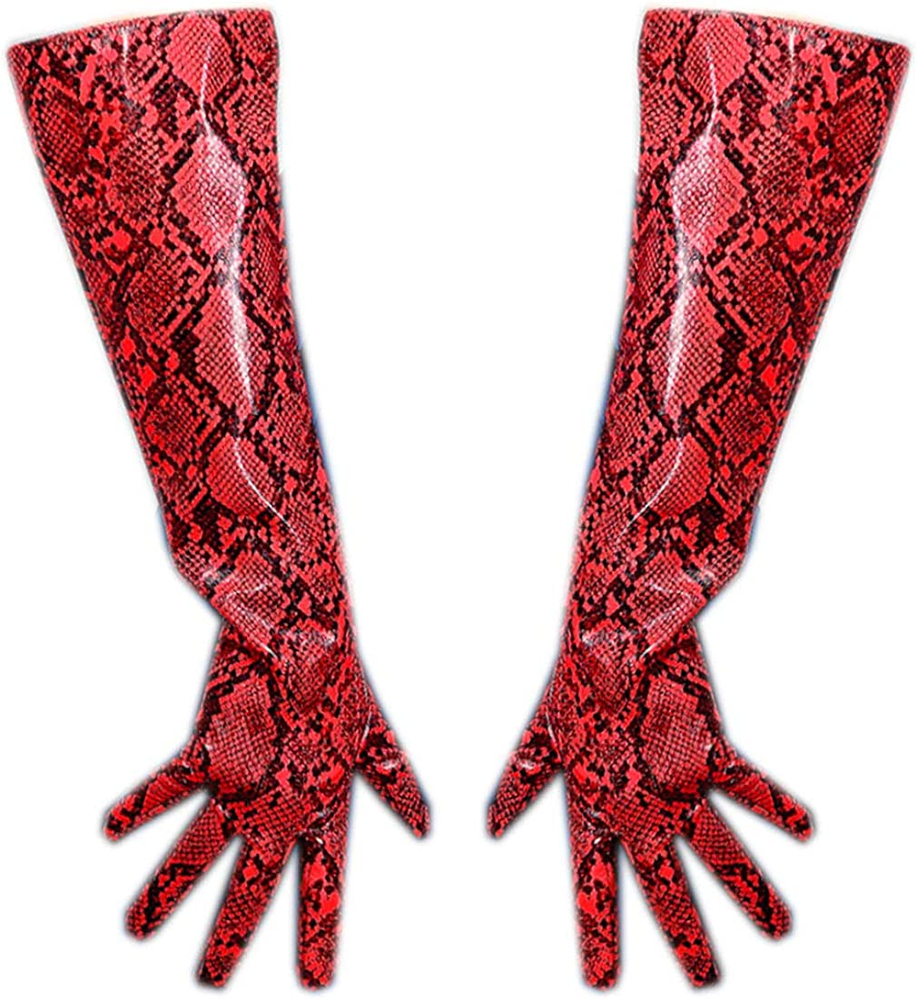 Women Long Latex Gloves Faux Patent Leather Red Snake Python Big Sleeve Cosplay Prom