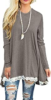 Angerella Women's Long Sleeve Tops Lace A-Line Tunic Blouse