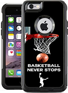 Teleskins Protective Designer Vinyl Skin Decals for Otterbox Commuter iPhone 6 / 6S Case - Basketball Never Stops Design Patterns only Skins and not Case
