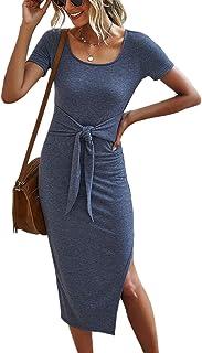 Yacun Women Summer Dress Bodycon Short Sleeve Tie Waist Midi Dresses