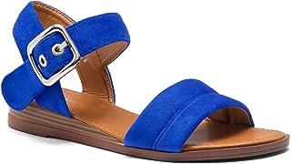 Ariella Women's Open Toe Ankle Strap Platform Low Wedge Sandals Fashion Shoes