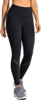 CRZ YOGA Women's High Waist Mesh Leggings Workout Tummy Control Pants with Zip Pocket-25 Inches