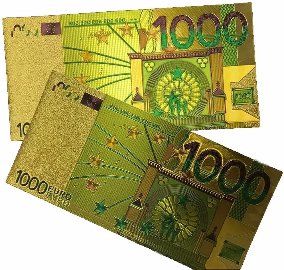 2Pcs 1000 Euro Bills Gold Foil Commemorative Banknote Double-Sided Color Printing for Movies, Kids and Party
