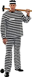 AMSCAN Convict Prisoner Halloween Costume for Men, Plus Size, with Included Accessories