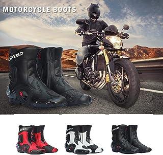 4d4bc25bc87093 iBasteFR Cuir Bottes Moto Bottes de Course Moto Bottes d'équitation Homme  Motocross Bottes Moto
