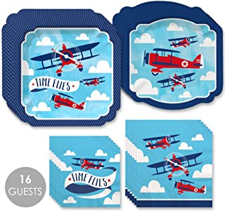 Big Dot of Happiness Taking Flight - Airplane - Vintage Plane Baby Shower or Birthday Party Tableware Plates and Napkins - Bundle for 16