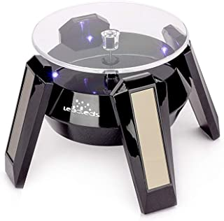 Leadleds Exquisite New Black Solar Powered Display Stand Rotating Turntable with LED Light + (Colored Unit Packing Box)