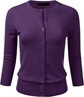 FLORIA Women s Button Down 3 4 Sleeve Crew Neck Knit Cardigan Sweater ... b13049f80