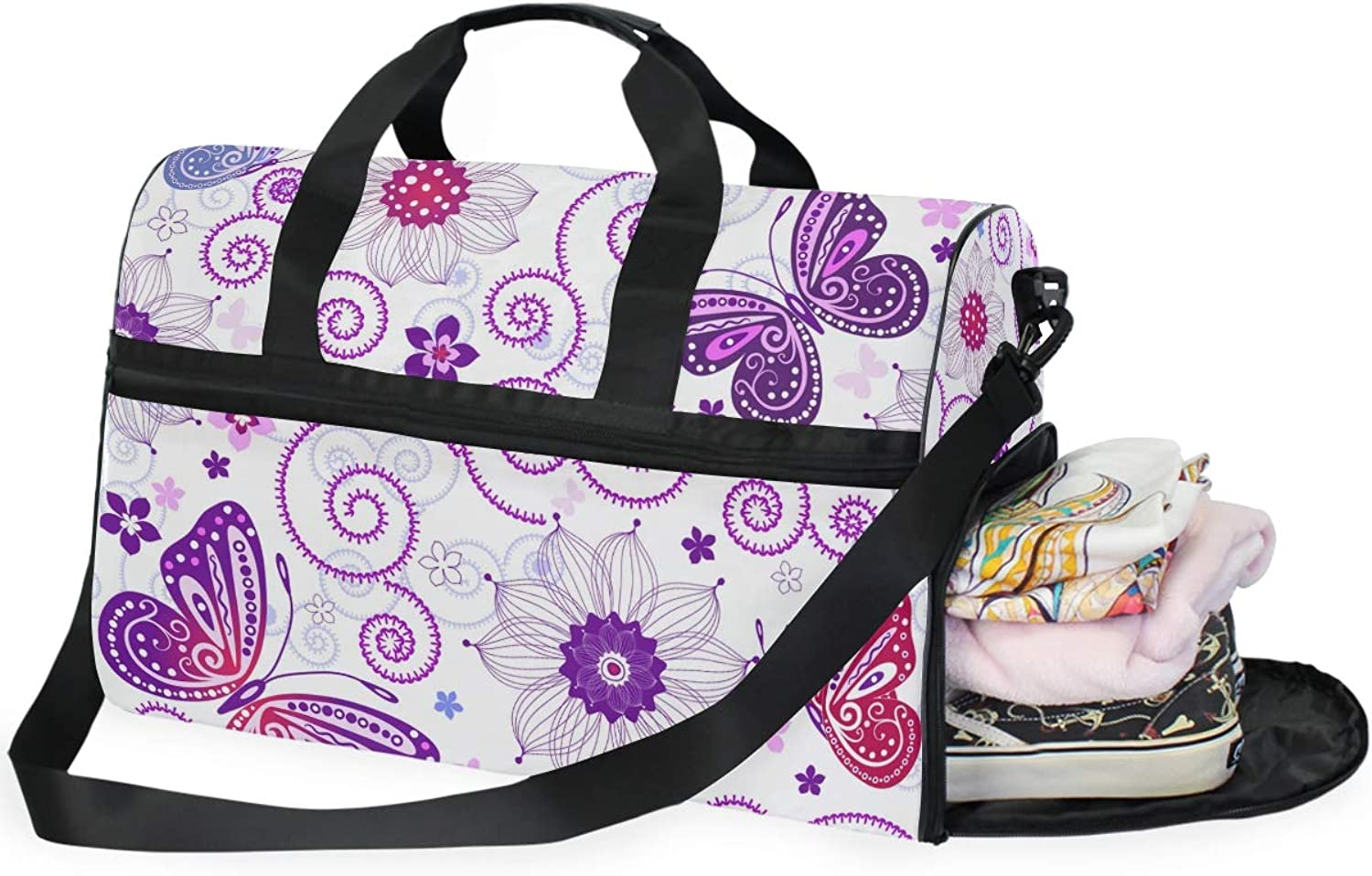 WIHVE Travel Duffel Bag Purple Flowers Butterfly Gym Bag with shoes Compartment