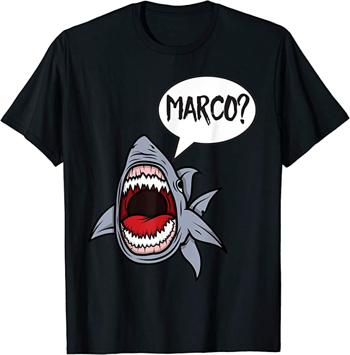 funny hungry shark playing marco polo t shirt art tshirt. Black Bedroom Furniture Sets. Home Design Ideas