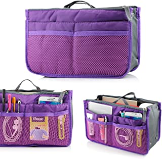 GEARONIC TM Lady Women Travel Insert Organizer Compartment Bag Handbag Purse Large Liner Tidy Bag - Purple
