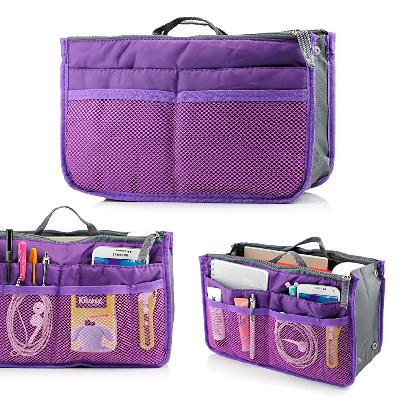 GEARONIC TM Lady Women Travel Insert Organizer Compartment Bag Handbag Purse Large Liner Tidy Bag - Purple