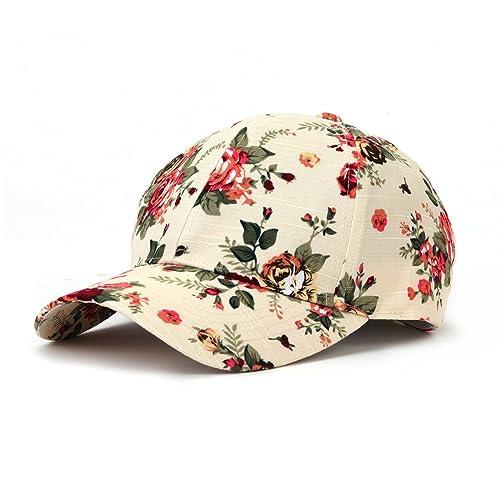71284a6e JOOWEN Floral Print Baseball Cap Adjustable 100% Cotton Canvas Dad Hat Hats  for Women