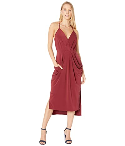 BCBGeneration Faux Wrap Midi Dress (Deep Red) Women